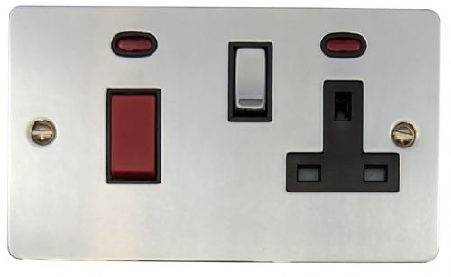 G&H FC329 Flat Plate Polished Chrome 45 Amp DP Cooker Switch & 13A Switched Socket